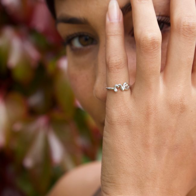 Tia Ward @misstpw, wearing 'Me' ring in sterling silver, photographed by Zoe Sherwood
