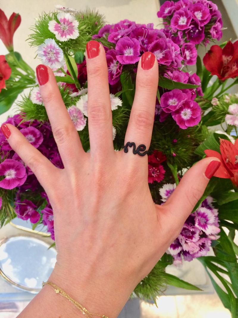 Me ring in black 3D printed Nylon