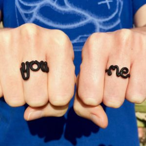 You and Me 3D printed nylon rings in black