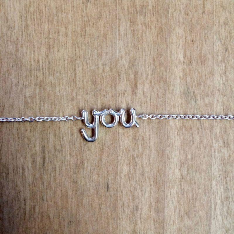'You' bracelet, sterling silver