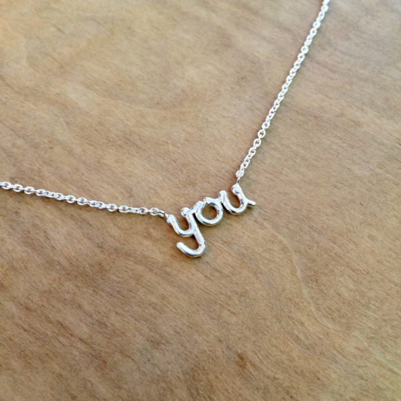 'You' necklace, sterling silver