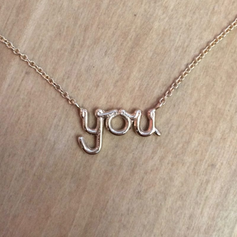 'You' necklace, 9ct gold